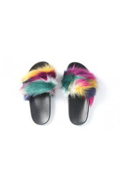 Farebné papuče s kožušinou 851 Z/B/P/Y Fur Slides, Sandals, Shoes, Fashion, Moda, Shoes Sandals, Zapatos, Shoes Outlet, Fashion Styles