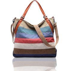 FXTXYMX Women's Striped Canvas Hobo Top-handle Handbag Crossbody Shoulder Bag