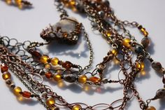 Statement necklace Multi chain chunky  brown  by TherzWorldz