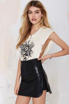 Nasty Gal Roxie Vegan Leather Skirt - Skirts   Skirts      Skirts