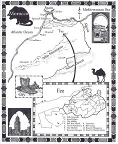 Morocco - map from Laurie R. King's upcoming novel:  Garment of Shadows (Sept. 4, 2012)