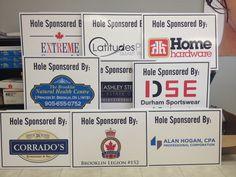 "Digital print 18 x 24"" coroplast golf sponsor signs complete.  #coroplastsigns www.SpeedproDurham.ca"