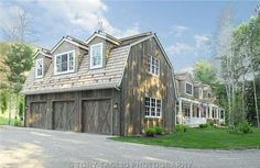 There are some types of roof that would create a traditional house style and a gambrel roof is one of them. A gambrel roof is a symmetrical two-sided roof that has two slopes on each side of the ro… Barn Apartment, Garage Apartment Plans, Garage Apartments, Studio Apartment, Apartment Design, Carriage House Garage, Barn Garage, Garage Studio, Garage House