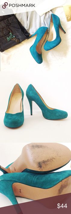 Talbots Teal Turquoise Suede Leather Pumps I love these shoes! Barely worn. See last photo for small mark on heel. So beautiful. Talbots Shoes Heels
