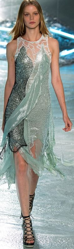 Rodarte ~ Spring 2015 ~ Aquamarine mini shimmery shell with flying sheer on top