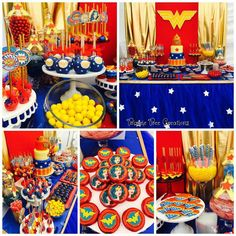 Wonderwoman Party | Decorations | Cake | Cookies | Cakepops | Candy | Dessert Table | Sweets