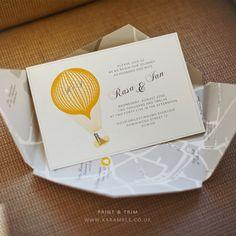 Hot Air Balloon Wedding Invitation 5 x 7  DIY by KarameleShop, £6.00
