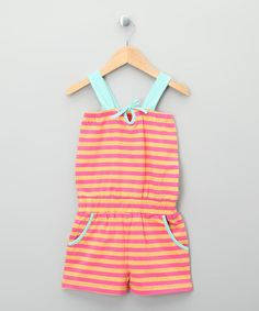 """Bright Pink & Yellow Stripe Organic Romper - Toddler & Kids ~ """"A perfect blend of contemporary and cool, this organic romper boasts truly trendy style. With planet-friendly fibers and chemical-free construction, a stretchy fit and playful print, this high-quality piece shines with sweet sustainability."""""""