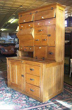 Antique Victorian 1880s Oak Bakers Bread Spice Step Back Cupboard Cabinet