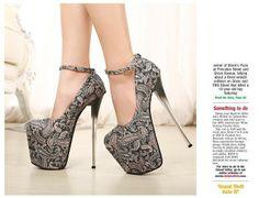 Original brand 18cm super high heels platform pumps thin high heel sexy women party shoes plus size 40 US $41.00