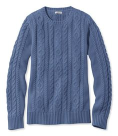 Find the best Double L® Mixed-Cable Sweater, Crewneck at L. Our high quality Women's Sweaters, Sweatshirts, and Fleece are thoughtfully designed and built to last season after season. Chunky Cable Knit Sweater, Cable Cardigan, Blue Sweaters, Sweaters For Women, Cozy Sweaters, Vogue Knitting, Crew Neck Shirt, Garter Stitch, Sweater Shirt