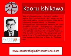 Dr. Ishikawa was a well known quality guru.  Best known for the development of the cause and effect diagram Dr. Ishikawa's methods are still used today.