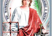 św. Wawrzyniec (Laurence) z Rzymu, męczennik Kimono Top, Women, Woman