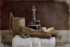 Tineke Stoffels - Still Life With Red Port And Cheese, processing by Tineke Stoffels