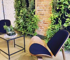 "Designer Hande Ersoy created two living walls for ""Untitled by Flaunt Boutique"" in Toronto with Florafelt Vertical Garden Planters. Vertical Garden Planters, Glass Table, Brick Wall, Toronto, Flora, Living Walls, Gardening, Horticulture, Workplace"
