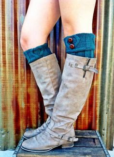 d2afb1669 Short Leg Warmers Ivy Green Short Cable-Knit Boot Cuffs with Vintage Buttons  Knitted Boot
