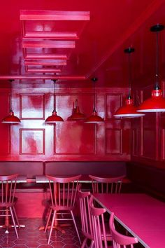 The bold colour choice of this dining space in this restaurant in London is a fun and different interior concept. The red powder coloured pendant light shade is an exciting addtion to the elaborate dining space. #mullanlighting #restaurantlighting #lightingdesign #lightingideas #restaurantdesign #hospitalitylighting #hospitatilitydesign #commercialdesign #commerciallighting #lightingretail #retaildesign #retailinteriors #lightingconcepts #pendantlighting #pendantlights #hanginglighting Restaurant Lighting, Restaurant Design, Commercial Lighting, Commercial Design, Lighting Concepts, Lighting Design, Industrial Pendant Lights, Interior Concept, Cool Lighting