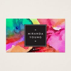 Makeup artist business card vector template with beautiful perfume bright colorful abstract watercolor art business card colourmoves