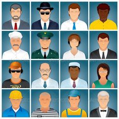 Business People Icons. Vector Collection #GraphicRiver Set of Various Business People. Avatars of Random People, Wearing in Uniforms, Dresses and Suits. Occupation Vector Icons - vector illustration with simple gradients - vector graphics with CMYK colors for print - zip file contains images: AI, PSD, CDR, EPS, JPG Keywords: background, portrait, smith, lawyer, music, disk, jockey, assistant, repairman, seller, suit, tie, costume, dress, prisoner, group, actor, teamwork FUNNY CARTOON…