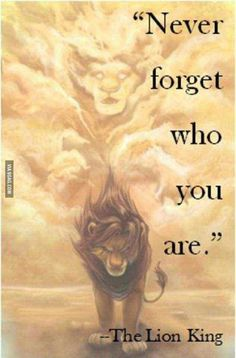"""""""Never forget who you are."""" - Disney's The Lion King"""