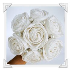 alternative bridal bouquet - white crochet-roses /Brautstrauß - Weiße Häkelrose
