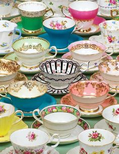 Collect various teacups ...dishes do not need to match