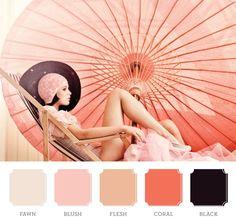 Blush. Black. Coral