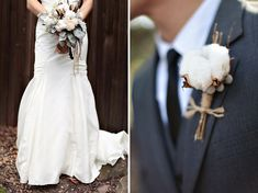 Cotton boll bouquet and boutonniere - an interesting way of having something soft and fluffy in your floral decor. Brandon and Kristen also included cotton bolls in her bouquet, his boutonniere, and their decor! Floral Bouquets, Wedding Bouquets, Wedding Dresses, Floral Flowers, Cotton Bouquet, Winter Wedding Inspiration, Wedding Ideas, Woodsy Wedding, Wedding Pins