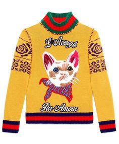 Gucci Embroidered Merino Wool Turtleneck Knit In Dark Yellow Wool Petite Sweaters, Cat Sweaters, Sweaters For Women, Yellow Shorts, Yellow Sweater, Knitted Cat, Merino Wool Sweater, Petite Tops, Couture