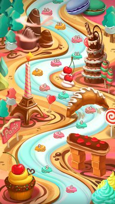 Sweet Paris (map) on Behance Hansel Y Gretel, Map Games, Candy House, Fantasy Drawings, Grilling Gifts, Paris Map, Game Background, Game Concept, Game Ui