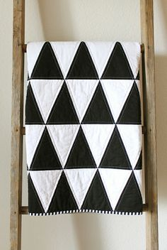 black and white quilts | black and white isosceles triangle quilt.