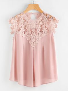 Shop Keyhole Back Daisy Lace Shoulder Shell Top online. SheIn offers Keyhole Back Daisy Lace Shoulder Shell Top & more to fit your fashionable needs. Look Fashion, Fashion Clothes, Fashion Dresses, Skirt Fashion, Fashion Styles, Blouse Styles, Blouse Designs, Pink Lace Tops, Lacy Tops