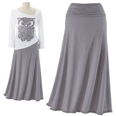 """Ruched Maxi Skirt  To the Max. Look great—anywhere! Lithe, supple, and soft, this versatile maxi falls from its ruched, elasticized waist to a frayed-ruffle hem. 100% cotton. Machine washable. Made in USA. Color: Steel. Sizes: XS (2-4), S (6-8), M (10-12), L (14-16), XL (18); 32""""-34"""" long.  ****  Ruched Maxi Skirt  Item #:P85711  Price:$69.95"""