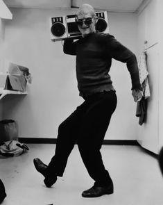 Robert Englund (AKA Freddie) fooling around on set of Nightmare on Elm Street Part 2: Freddy's Revenge.