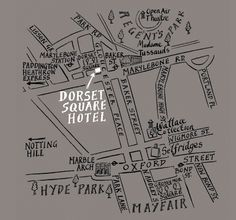 love the handrawn maps of the dorset square hotel - so cute for a wedding enclosure