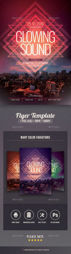 Glowing Sound Flyer — PSD Template #psd #modern • Download ➝ https://graphicriver.net/item/glowing-sound-flyer/18362579?ref=pxcr