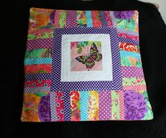 Jewel colours and a beautiful butterfly - cushion by Adaliza