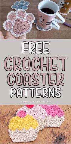 Crochet Applique Patterns Free, Crochet Socks Pattern, Crochet Coaster Pattern Free, Free Pattern, Crochet Projects, Yarn Projects, Crochet Bookmarks, Crochet Things, Easy Crochet