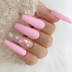 Light Pink Acrylic Nails, Matte Pink Nails, Coffin Nails Matte, Coffin Shape Nails, Summer Acrylic Nails, Best Acrylic Nails, Glitter Nails, Pink Coffin, Nails Beige