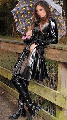 pvc dress with boots Vinyl Raincoat, Pvc Raincoat, Fetish Fashion, Latex Fashion, Imper Pvc, Mode Latex, Black Raincoat, Vinyl Clothing, Black Mac