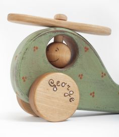 Handmade wooden toy, wooden helicopter, personalized toy George