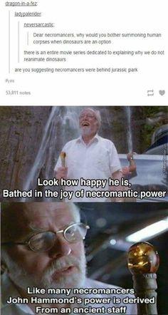 John Hammond was a necromancer who summoned dinosaurs rather than humans, confirmed