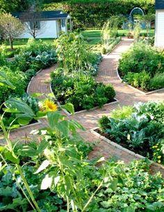 Potager Garden - traditional - landscape - chicago - truly a dream garden! Potager Garden, Diy Garden, Edible Garden, Dream Garden, Herb Garden, Garden Beds, Garden Path, Brick Garden, Summer Garden