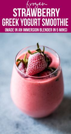Frozen strawberry greek yogurt smoothie is thick, creamy and utterly delicious! This strawberry smoothie with yogurt is the perfect protein and nutrient rich 10 minute breakfast for busy days. via @my_foodstory