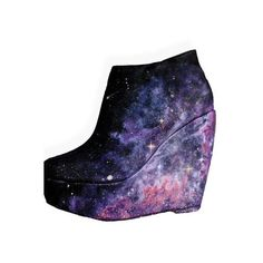 Nebula Wedge Heels ❤ liked on Polyvore featuring shoes, planet shoes, wedge sole shoes, cosmic shoes, nebula shoes and galaxy shoes