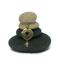 Love Life Live Life Rock Cairn Zen Garden by CedarwoodCreations