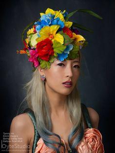 Flower hat - Kentucky Derby Hat - Bright Colors - Summer Hat