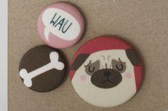 Mops Stoff-Buttonset von käselotti auf DaWanda.com