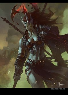 Eri by bayardwu female orc ork dark elf drow barbarian fighter queen warlord crown armor clothes clothing fashion player character npc | Create your own roleplaying game material w/ RPG Bard: www.rpgbard.com | Writing inspiration for Dungeons and Dragons DND D&D Pathfinder PFRPG Warhammer 40k Star Wars Shadowrun Call of Cthulhu Lord of the Rings LoTR + d20 fantasy science fiction scifi horror design | Not Trusty Sword art: click artwork for source
