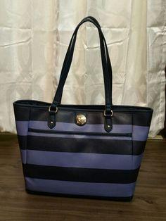 NWT $89 Tommy Hilfiger Blue Lapis Striped Shopper Shoulder Bag #TommyHilfiger #ShoulderBag
